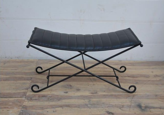 Black Leather and Iron Foldaway Stool