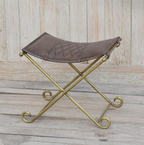Iron and Brass Cross Stool