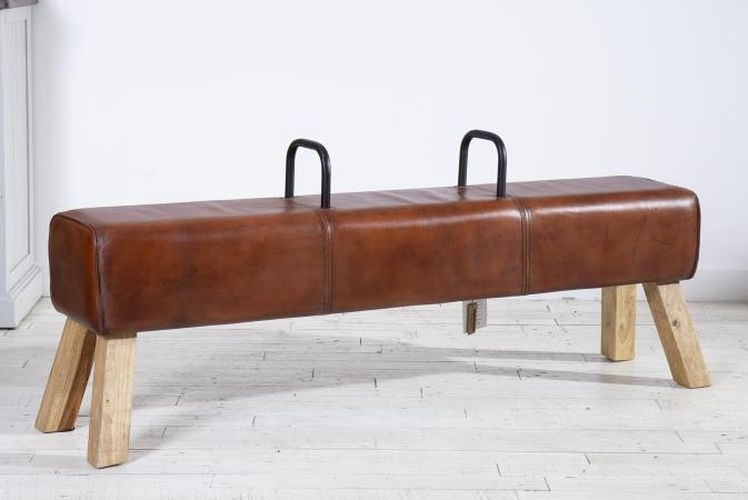 Leather Pommel Horse Large Bench with Handle