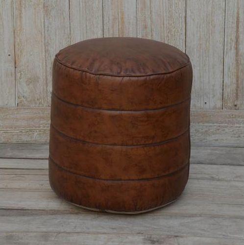 Faux Leather Pouffe Stool