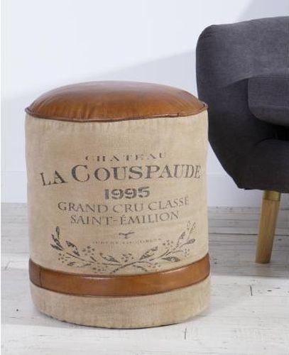 Leather and Canvas La Couspaude Pouffe Stool