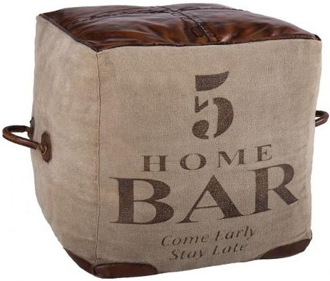 Leather and Fabric Home Bar Square Pouffe