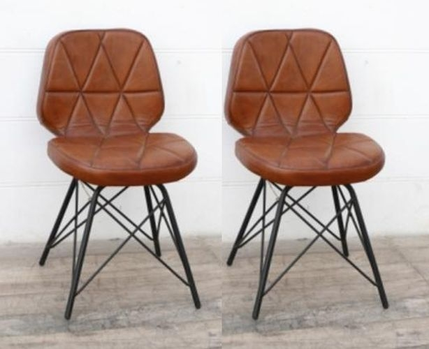 Padded Geometric Leather Dining Chair (Pair)