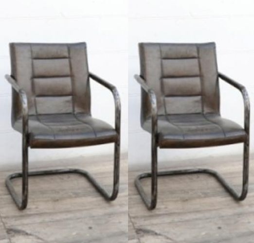 Ribbed Brushed Buffalo Leather Dining Chair with Frame (Pair)