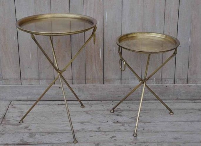 Set of 2 Gold Round Tray Tables