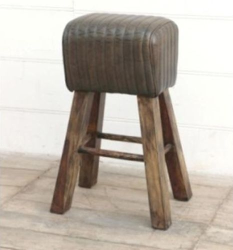 Tall Brushed Buffalo Leather Pommel Horse Stool