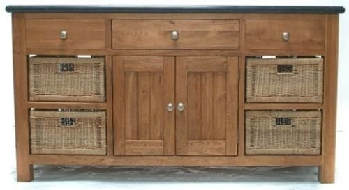 Evelyn Oak 4 Door 3 Drawer Large Granite Island