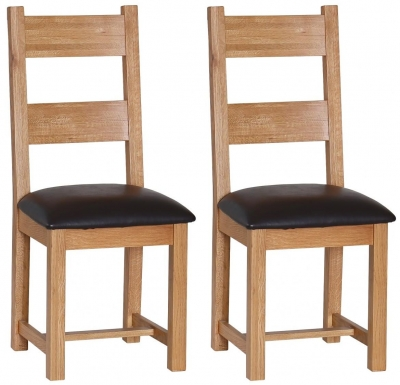 Evelyn Oak Dining Chair with Chocolate Faux Leather Seat