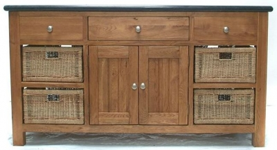Evelyn Oak Large Granite Island with 3 Drawer 4 Droor