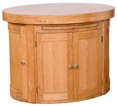 Evelyn Oak Oval Island with 6 Door - Fixed Shelf