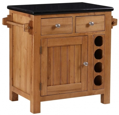 Evelyn Oak Small Granite Island with  Wine Rack - 2 Door 2 Drawer