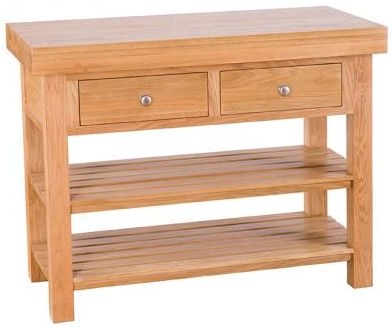 Evelyn Oak Rectangular Island - 2 Drawer with 2 Shelves - Small