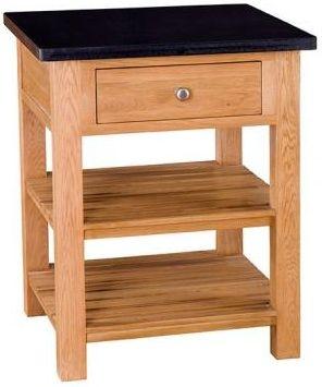 Evelyn Oak Square Granite Island - 1 Drawer with Shelves