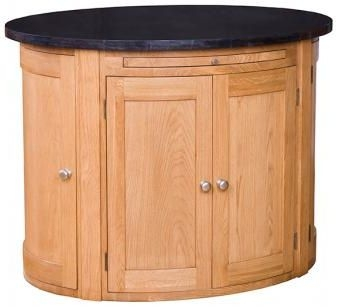 Evelyn Oak Granite Oval Island - 6 Door with Fixed Shelf