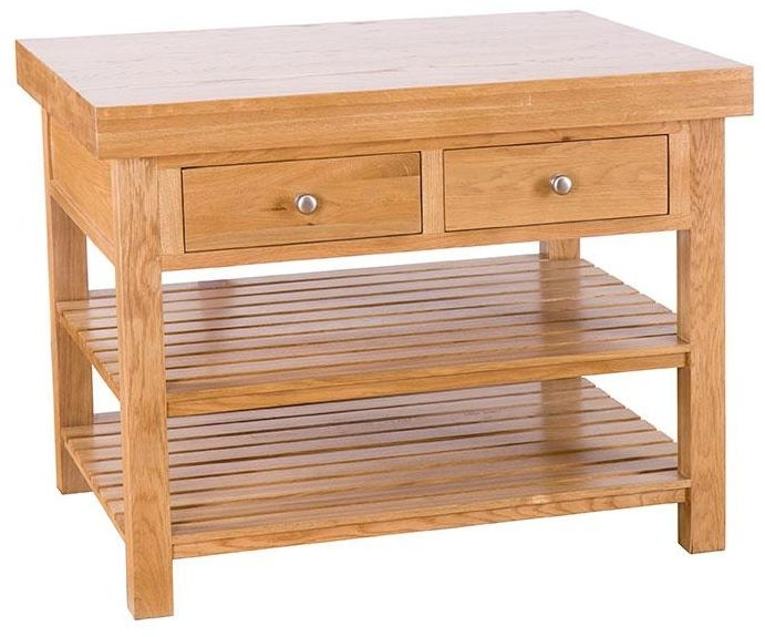 Evelyn Oak Rectangular Island - 2 Drawer with 2 Shelves - Large