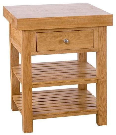 Evelyn Oak Square Island - 1 Drawer with 2 Shelves