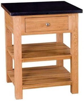 Evelyn Oak Square Granite Island - 1 Drawer with Shelves