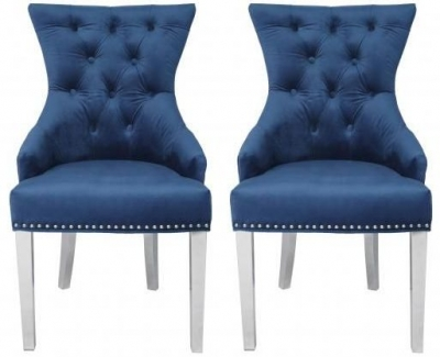 Blue Velvet Fabric Dining Chair with Stainless Steel Legs (Pair)