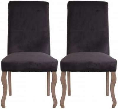 Dark Grey Fabric Dining Chair with Wooden Legs (Pair) - DX6040-DG