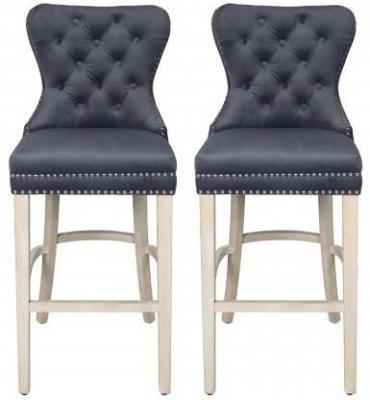 Grey Velvet Fabric Bar Stool (Pair)