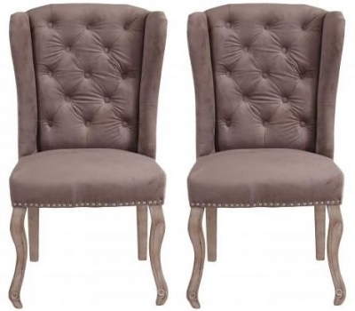 Light Grey Fabric Dining Chair with Wooden Legs (Pair)
