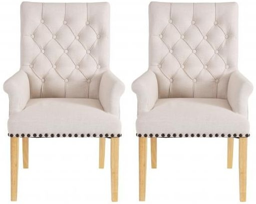 Beige Fabric Dining Chair with Wooden Legs (Pair) - DX-32