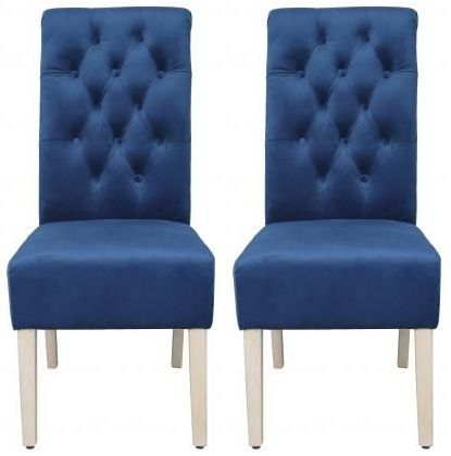 Blue Velvet Fabric Dining Chair with Wooden Legs (Pair)