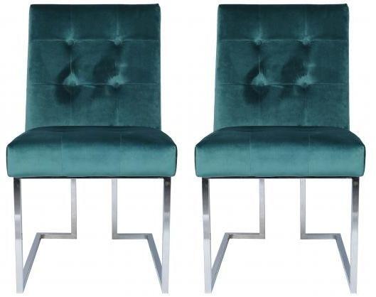 Dark Green Velvet Fabric Dining Chair with Chrome Legs (Pair)