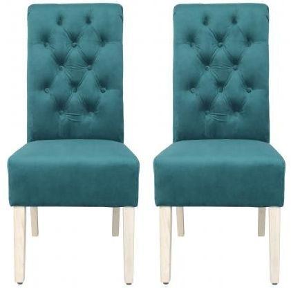 Dark Green Velvet Fabric Dining Chair with Wooden Legs (Pair)