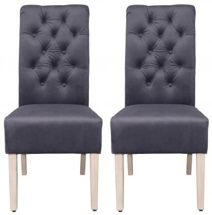 Grey Velvet Fabric Dining Chair with Wooden Legs (Pair)