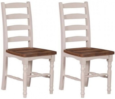 Farmhouse Horizontal Slat Dining Chair with Solid Seat (Pair)