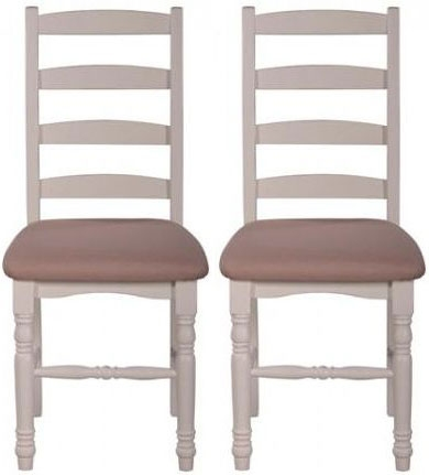 Farmhouse Horizontal Slat Dining Chair with Fabric Seat (Pair)