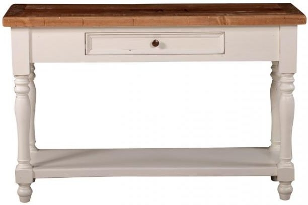 Farmhouse Wide Console Table with 1 Drawer and Shelf