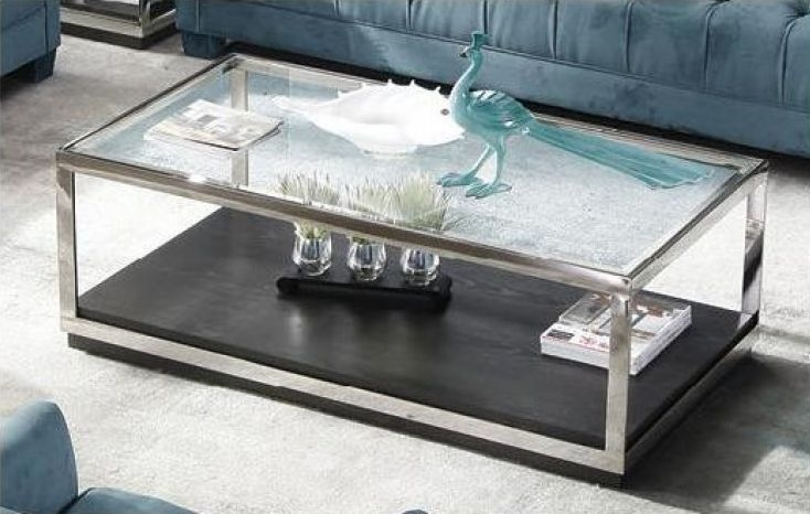 Fitzgerald Glass Top Coffee Table with Metal Frame