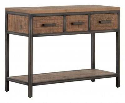 Forge Old Oak Industrial 3 Drawer Hall Table