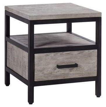 Forge Weathered Oak Industrial 1 Drawer Side Table