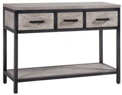 Forge Weathered Oak Industrial 3 Drawer Hall Table