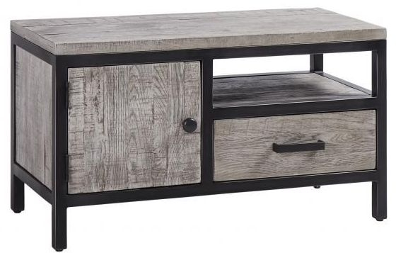 Forge Weathered Oak Industrial 1 Door 1 Drawer TV Unit