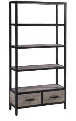Forge Weathered Oak Industrial 2 Drawer Bookcase