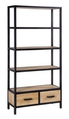 Forge Whitewashed Oak Industrial 2 Drawer Bookcase