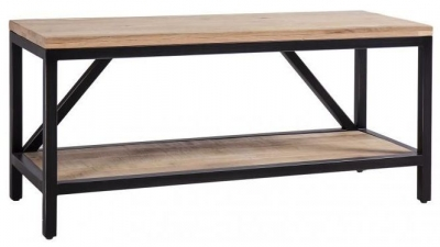 Forge Whitewashed Oak Industrial Hall Bench