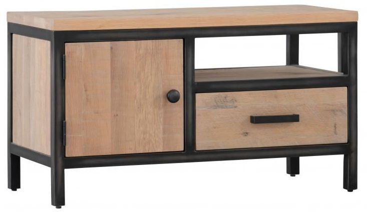 Forge Whitewashed Oak Industrial 1 Door 1 Drawer TV Unit