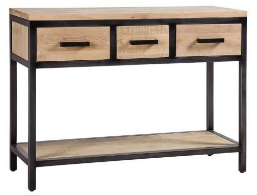 Forge Whitewashed Oak Industrial 3 Drawer Hall Table