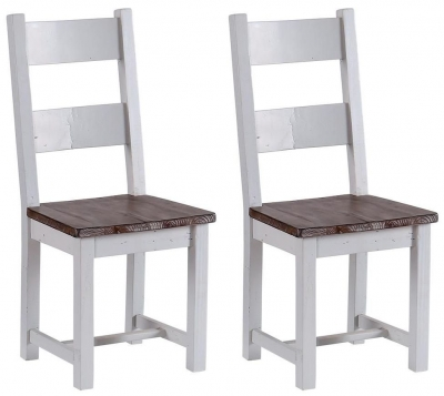 Hamptons Painted Dining Chair with Timber Seat (Pair)