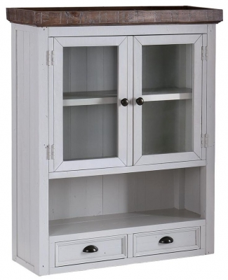 Hamptons Painted 2 Door 2 Drawer Glass Hutch
