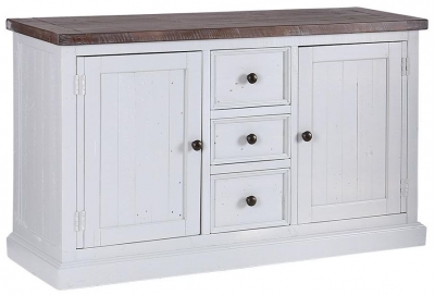 Hamptons Painted 2 Door 3 Drawer Wide Sideboard