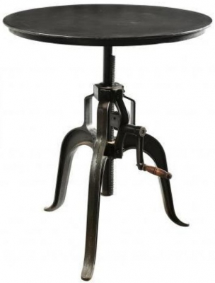 Iron and Reclaimed Timber Adjustable Lamp Table
