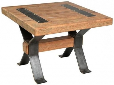 Iron and Reclaimed Timber End Table with Cross Detail Legs