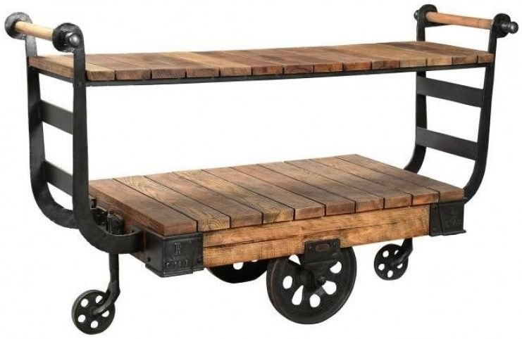 Antique Iron Display Trolley with Wheels