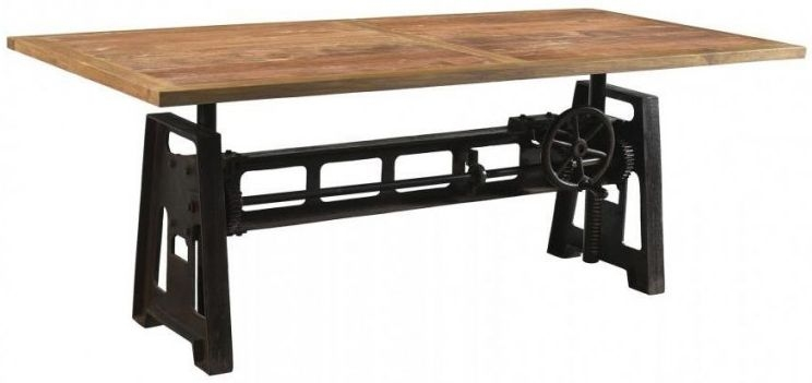 Cast Iron Industrial Dining Table Reclaimed Timber Top with Adjustable Height - 200cm Rectangular